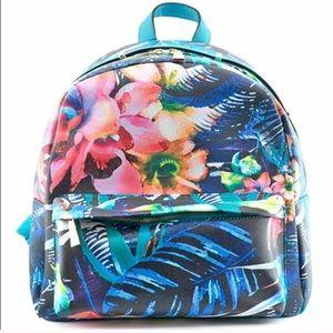 Hue & Ash Tropical Faux Leather Mini Backpack Aqua